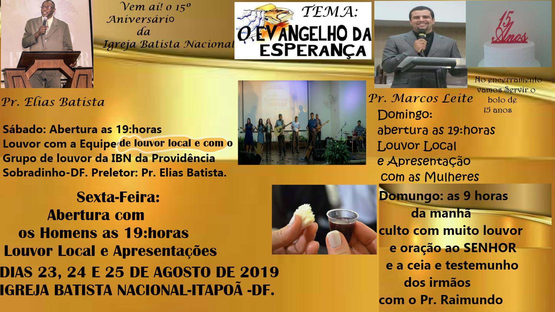 VEM AÍ O 15º ANIVERSÁRIO DA IGREJA PARTICIPE!!